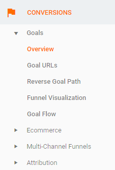 Google Analytics Goals Tab