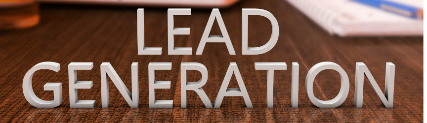 Lead generation text on top of a wooden table