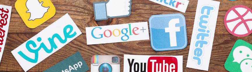 A collage of social media logos