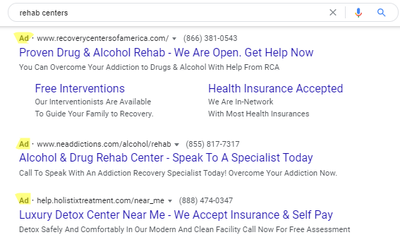 "a screenshot of a search engine result page after searching ""Rehab centers"" with the Ads highlighted."