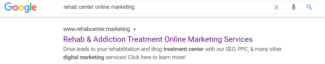 "a search engine results page with ""rehab center online marketing"" in the search bar"