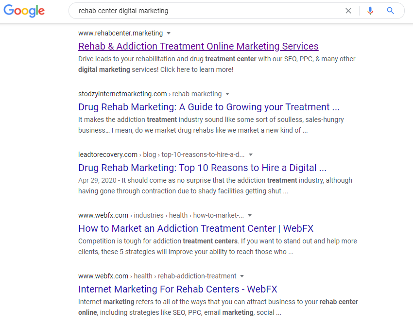 SERP results for rehab center digital marketing