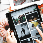 woman scrolling through images